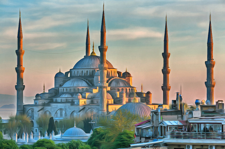 Colorful painting of Blue Mosque