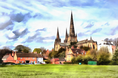 Colorful painting of Lichfield Cathedral Banco de Imagens