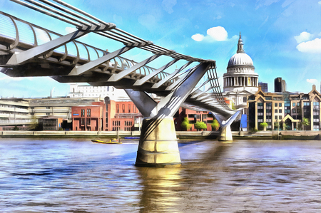 st pauls: Colorful painting of cityscape view of St. Pauls Cathedral from Millennium Bridge Stock Photo