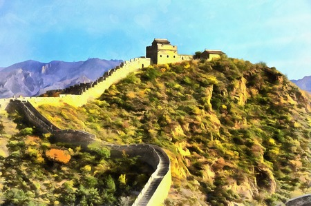 great wall of china: Colorful painting of Great Wall of China Stock Photo
