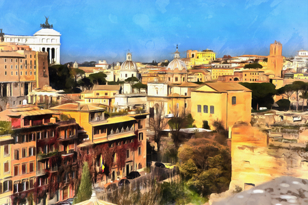 Colorful painting of view on Capitolium from Palatine Hill