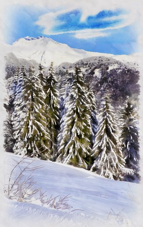 Beautiful winter landscape with snowy trees