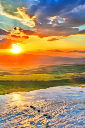 Colorful painting of sunset at the valley with glance surface Stock Photo