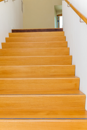 comtemporary: Wooden staircase interior view Stock Photo