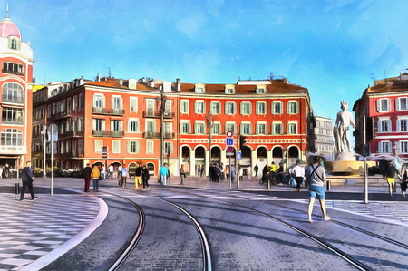 western town: Colorful painting of Massena square