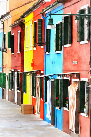 Colorful painting of houses with coloured facades