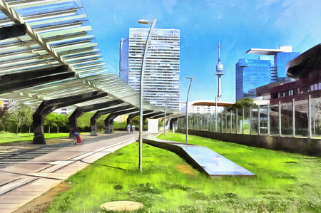 Modern cityscape at sunny day colorful painting