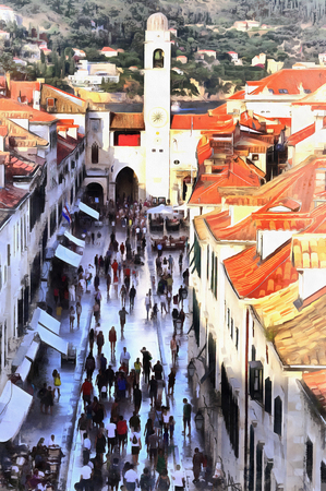 Cityscape colorful painting of Dubrovnik