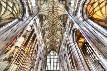 11th century: Colorful painting of Winchester Cathedral interior, Winchester, Hampshire, UK Stock Photo