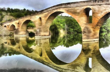 la: Colorful painting of medieval bridge, Navarra, Spain