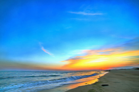 Colorful painting of seashore summer sky sunset