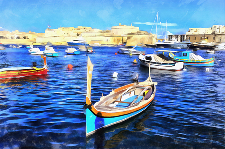 Colorful painting of boats in marine between Isla and Birgu, Malta Stock Photo