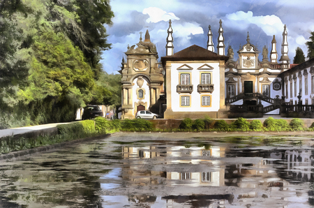 Colorful painting of The Mateus Palace (Solar de Mateus), Portugal