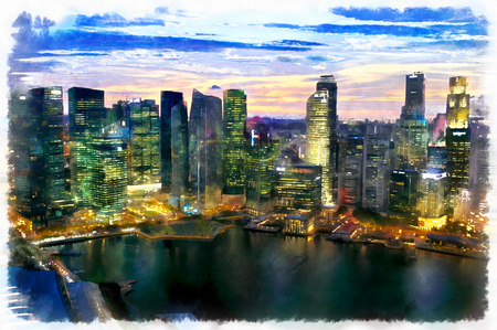 singaporean: Colorful painting of night cityscape Stock Photo