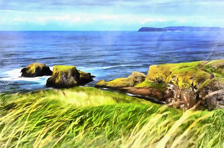 Colorful painting of Causeway Coast Foto de archivo