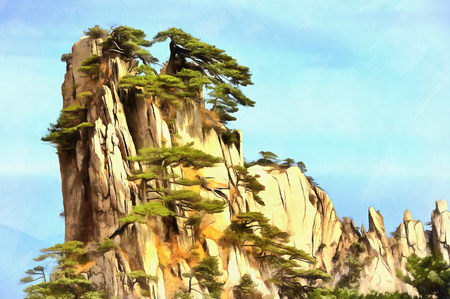 Colorful painting of lonely cliff