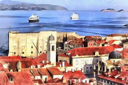 belfry: Colorful painting of cityscape of Dubrovnik