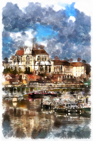 western town: Colorful painting of Abbey of Saint-Germain Stock Photo