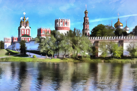 in monastery: Colorful painting of Novodevichy Convent
