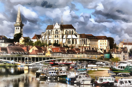 Colorful painting of Abbey of Saint-Germain Stock Photo