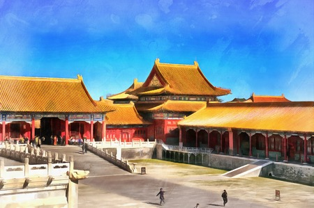 Colorful painting of Forbidden City
