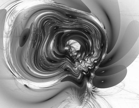 liquefy: Monochrome abstract fractal illustration Stock Photo