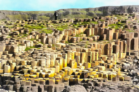 eire: Colorful painting of Giants Causeway Stock Photo