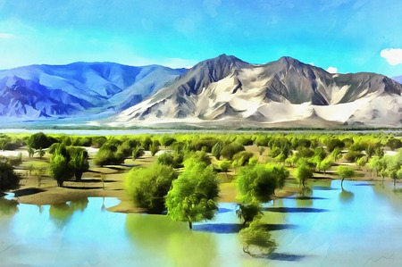 Colorful painting of Brahmaputra River valley