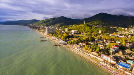 Aerial view on seashore resort area