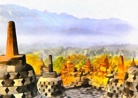 Kleurrijk schilderij van de Mahayana boeddhistische tempel