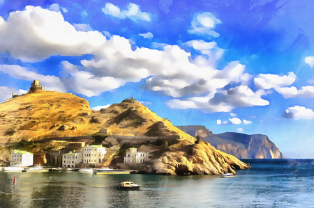 Colorful painting of Balaklava bay Stock Photo