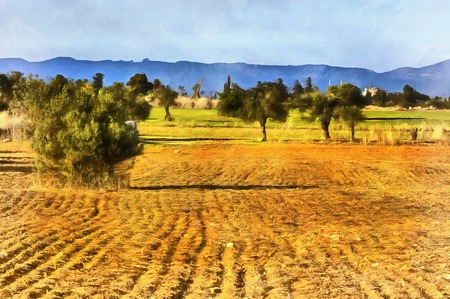 labranza: Pintura colorida del campo de la granja