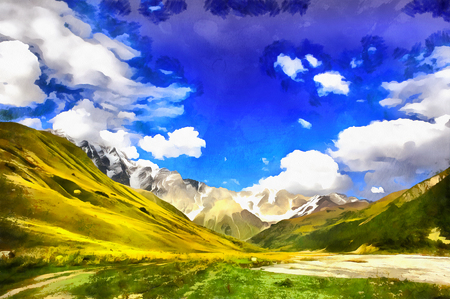 Colorful painting of mountain landscape Foto de archivo