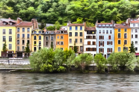 western town: Colorful painting ol cityscape of Grenoble