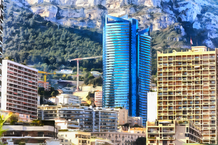 Colorful painting of cityscape of Monte Carlo 免版税图像