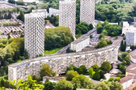 Modern cityscape colorful painting 免版税图像