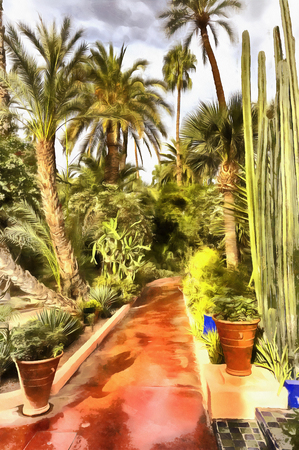 Colorful painting of palm garden Stock Photo