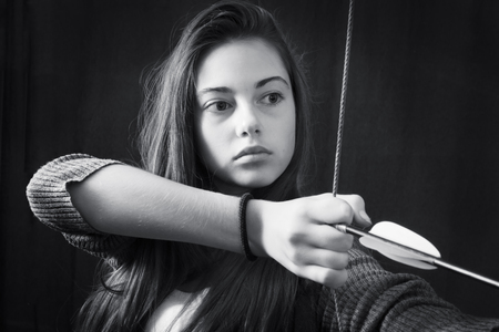 Monochrome close up portrait of young beautiful girl