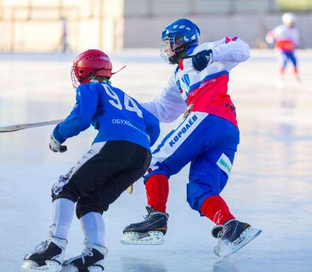 RUSSIA, OBUKHOVO - NOVEMBER 17, 2018: Moscow region bandy championship. BC Obukhovo - BC Vympel 1:2
