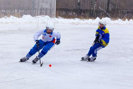 RUSSIA, LIKINO-DULEVO - DECEMBER 03, 2017: Moscow region bandy championship. BC Rusich - BC Vympel 4:3