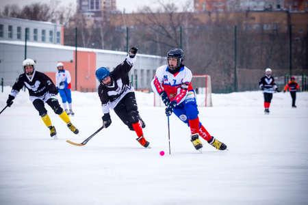 RUSSIA, KOROLEV - FEBRUARY 10, 2019: Moscow region bandy championship. BC Vympel - BC Filimonovo 9:1