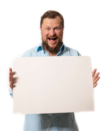 Joyful bearded man with blank paper folio studio portrait