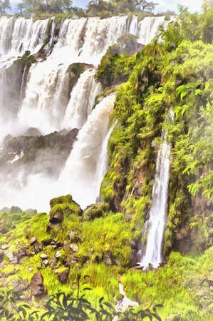 Iguazu Falls colorful painting looks like picture, Argentina.