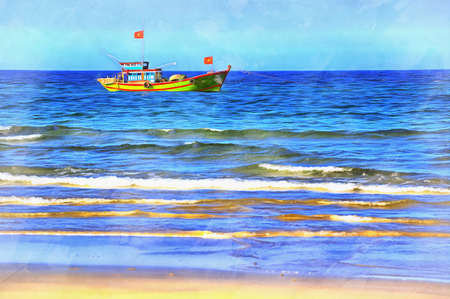 South China Sea beach colorful painting looks like picture, Vietnam.