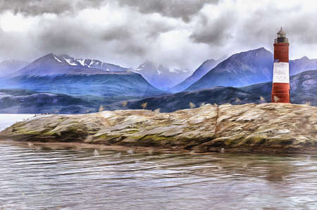 Beautiful landscape with beacon and mountains on background colorful painting looks like picture, Tierra del Fuego National park, Argentina. Stock fotó