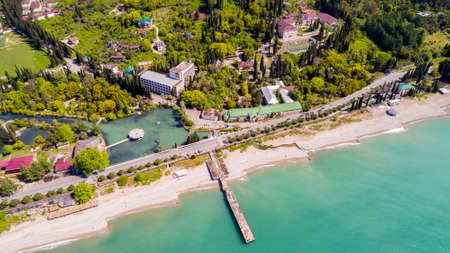 View from drone on Black sea coast resort Stock Photo