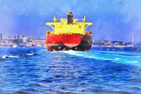 View of Bosphorus with big cargo ship colorful painting looks like picture, Istanbul, Turkey. Standard-Bild