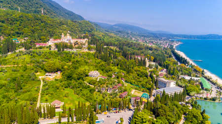 New Athos monastery at summer season aerial view, Abkhazia