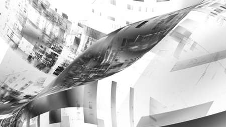 3D illustration of abstract fractal for creative design looks like modern city techno structure.