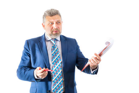 Business trainer emotional studio portrait on white background.